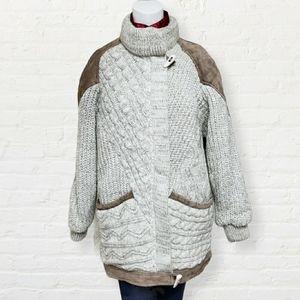 Vintage Karizma tan knit & suede thick jacket